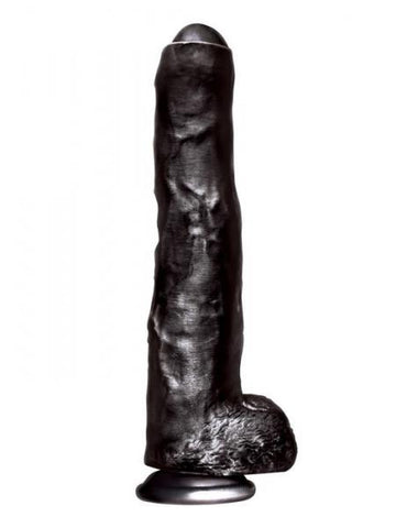 Huge Dildos- Big Black Cock Uncut Realistic Dildo by Icon Brands- Black 13.75 X 2 in. PVC Suction Cup