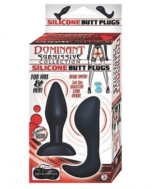 Dominant submissive collection 2 silicone butt plugs w/blindfold - black