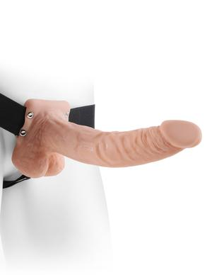 Penis Enhancers- Fetish Fantasy 9 inches Hollow Strap On Balls Beige by Pipedream- Beige 9.4 X 1.8 in. PVC Made in USA