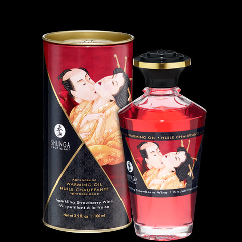 Sensual Massage- Shunga Warming Massage Oil Strawberry 3.5 fluid ounces by Shunga Erotic Art-   X  in.  Flavored