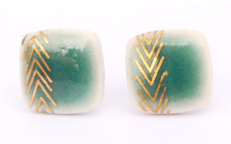 Chevrons on Jade Square porcelain stud earrings