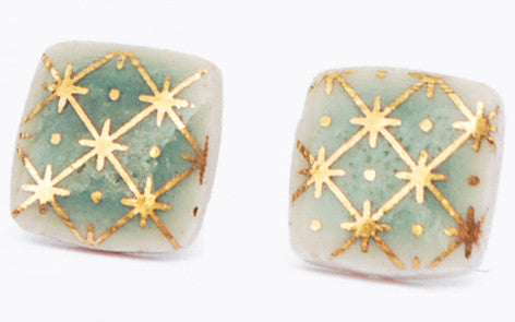 Gold on Jade Square porcelain stud earrings