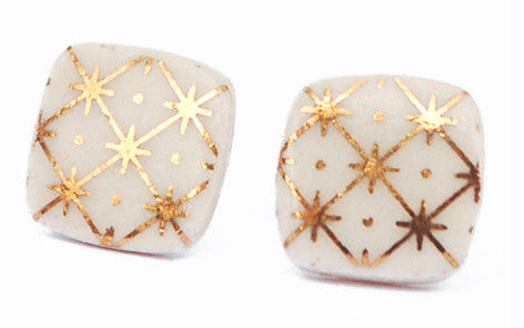 Gold on White Square porcelain stud earrings