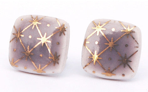 Gold on Purple Square porcelain stud earrings