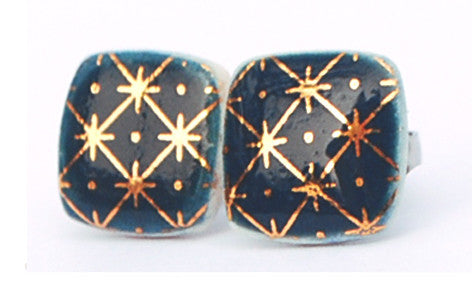 Gold on dark blue square porcelain stud earrings