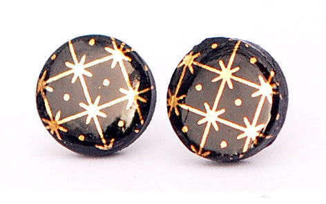 Gold Spark on Black Circle porcelain stud earrings