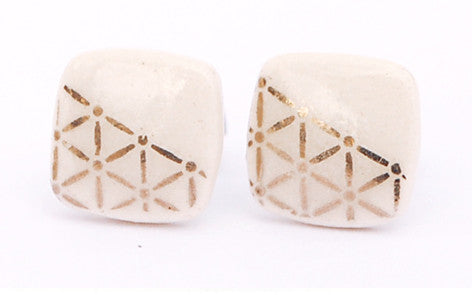 Platinum on white square porcelain stud earrings