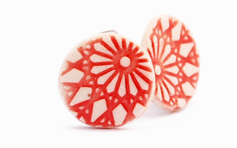 Coral Sun Circle porcelain stud earrings