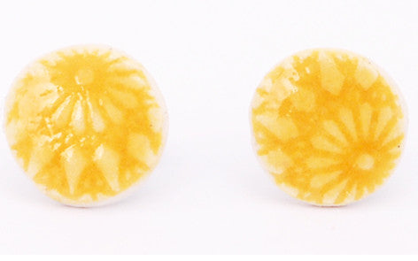 Yellow Sun Circle porcelain stud earrings