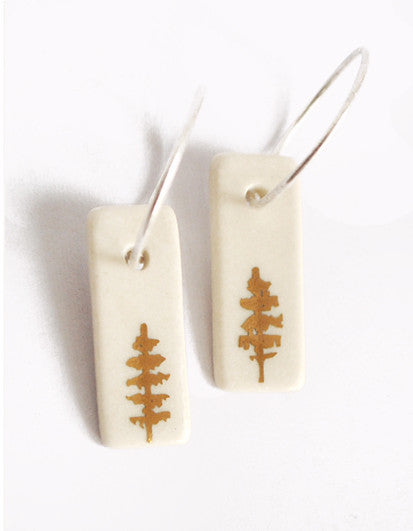 18k Trees on White Porcelain Hoop Earrings