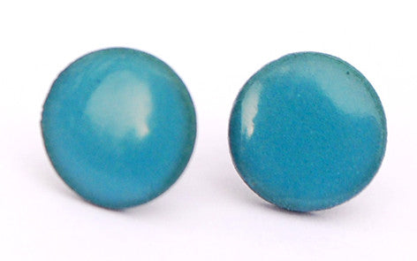 Blue on Teal Circle porcelain stud earrings