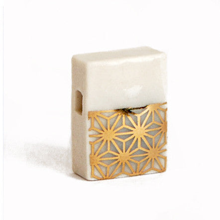 Gold Starburst Porcelain Block Pendent on 18' Sterling Silver Chain