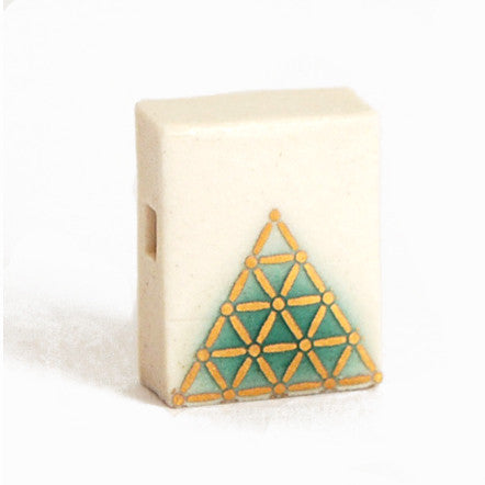 Gold Pyramid Porcelain Block Pendent on 18' Sterling Silver Chain