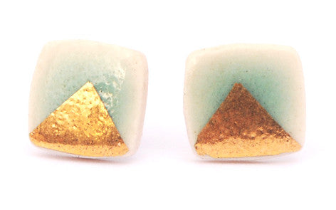 Gold Triangle on Celadon Square porcelain stud earrings