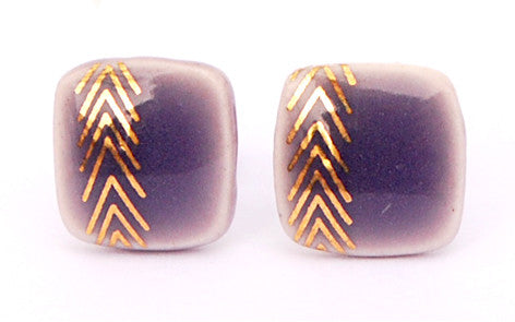 Chevrons on Purple Square porcelain stud earrings