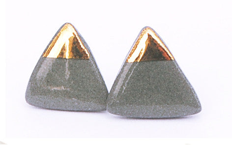 Gold on Grey Triangle porcelain stud earrings