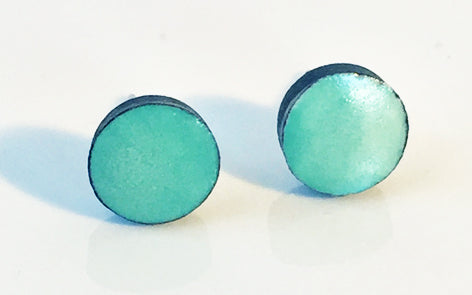 Turquoise on black porcelain Stud