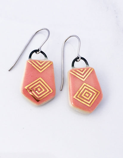 Pink and gold porcelain and wire earrings