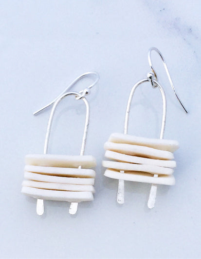 Stacked translucent porcelain on sterling silver