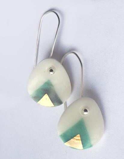 Gold on grey turquoise porcelain drop earrings with sterling silver hooks