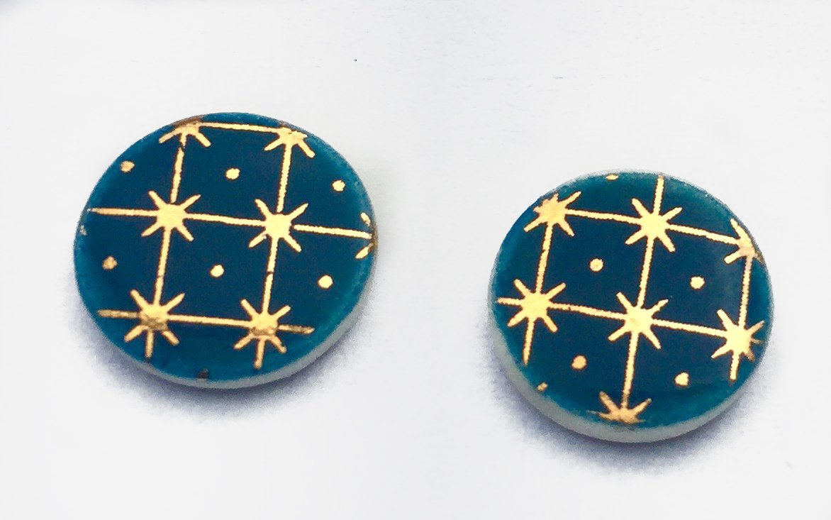 Gold on dark blue circle porcelain stud earrings