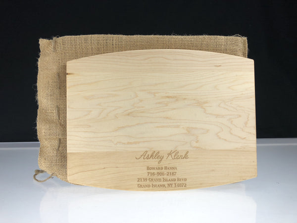 Custom Arched Wood Cutting Board w/Juice Groove - Standard Engraving & Burlap Carrying Bag x 20