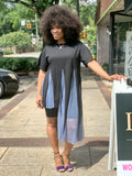 Blue Black Mesh Tunic