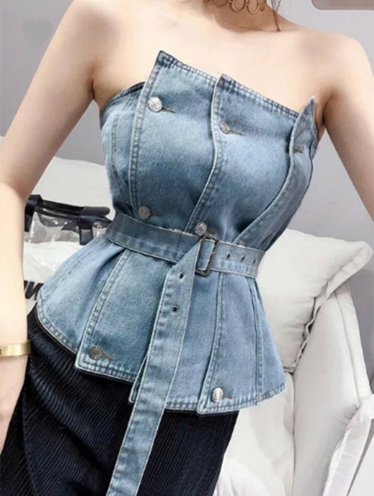 Denim Strap top