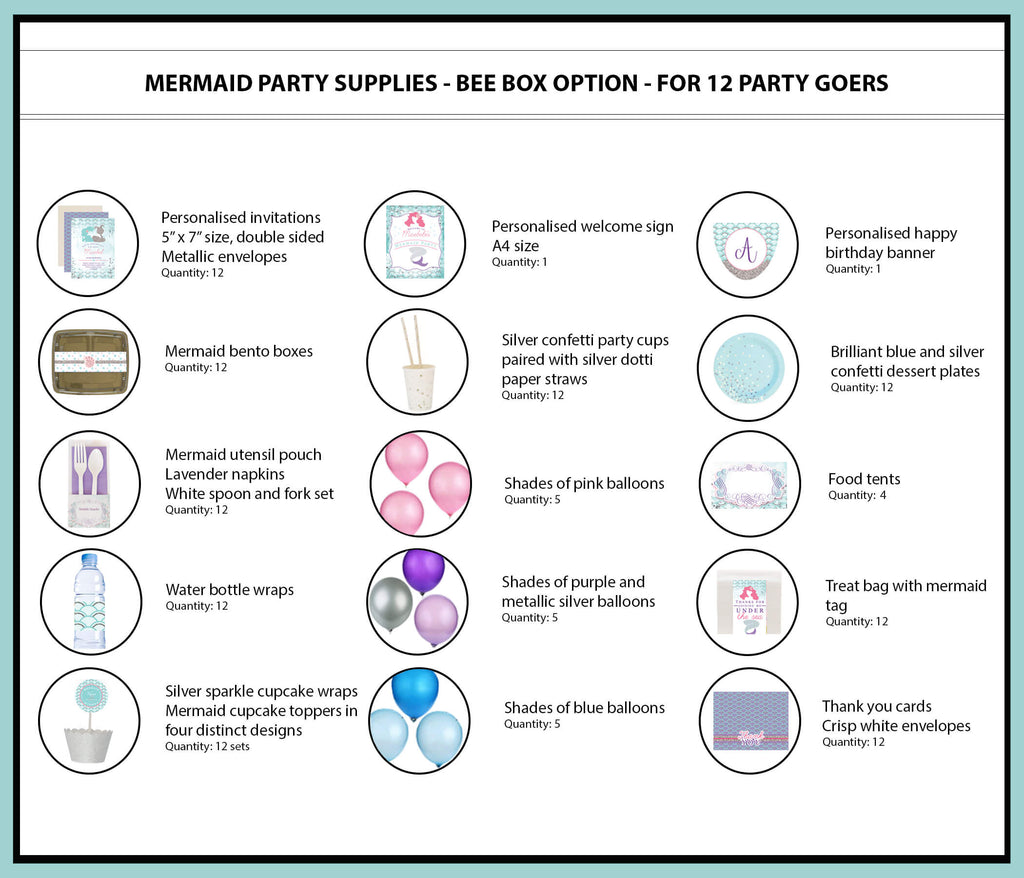 Mermaid Party Supplies Ideas Bee Box Option 12 Party Goers