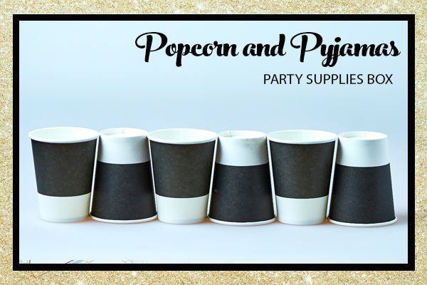 Popcorn Pyjama Sleepover Party Supplies Black White Cup Bee Box Parties