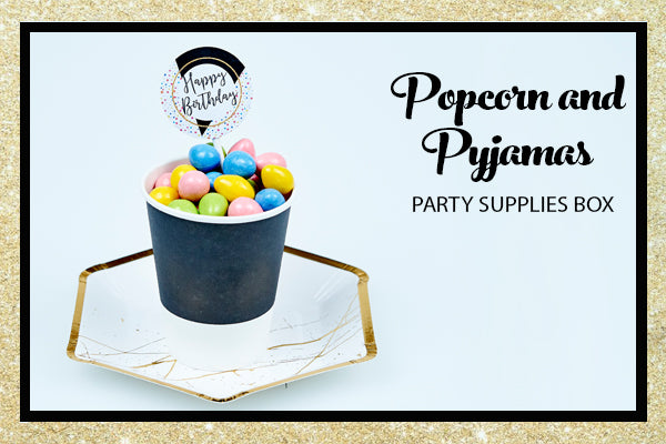 Popcorn Pyjama Sleepover Party Supplies Gold Hexagon Plate Cup Cupcake Topper Bee Box Parties
