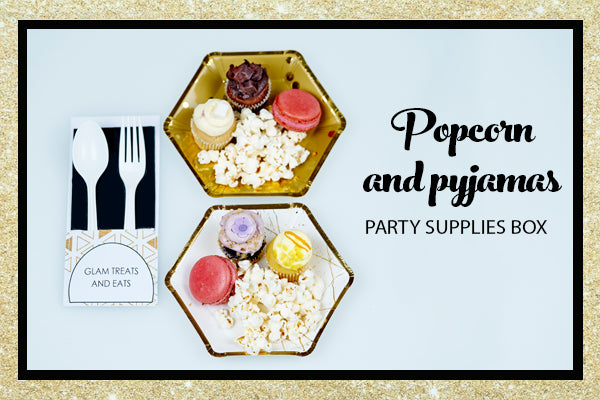 Popcorn Pyjama Sleepover Party Supplies Gold Hexagon Dessert Plate Bee Box Parties