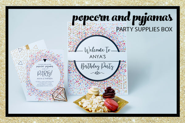 Popcorn Pyjama Sleepover Party Supplies Invitation Welcome Sign Bee Box Parties