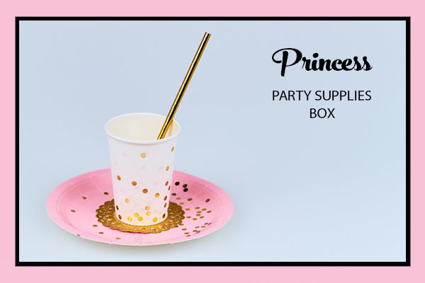Princess Party Supplies Ideas Plates Cup Gold Straw Bee Box Parties