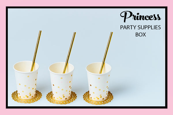 Princess Party Supplies Ideas Gold Pink Confetti Cup Gold Straw Bee Box Parties