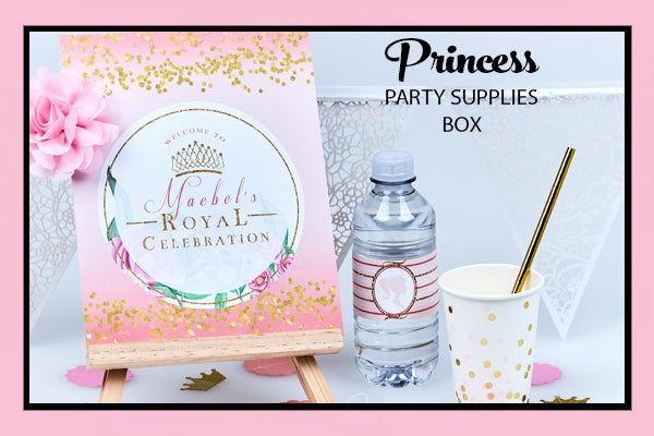Princess Party Supplies Ideas Welcome Sign Cups Garland Bee Box Parties