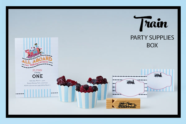 Train Party Supplies & Ideas Invitation Printables Favour and Baking Cups Bee Box Parties