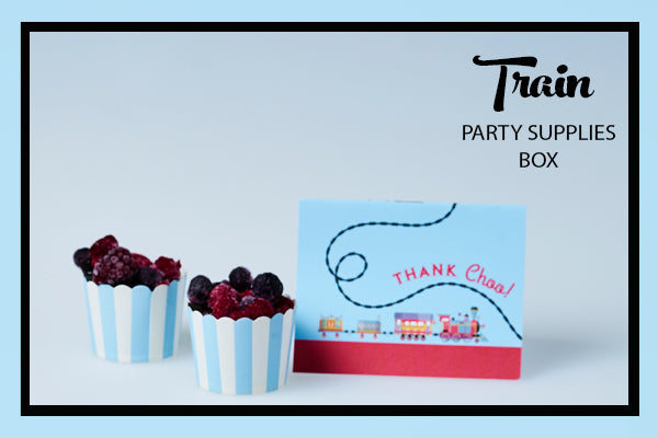 Train Party Supplies & Ideas Baking Cups and Thank Choo Cards Bee Box Parties