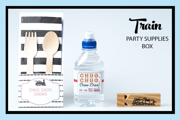 Train Party Supplies & Ideas Water Bottle Wrap, Utensil Pouch, Whistle Favour Bee Box Parties