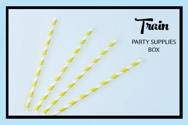 Train Party Supplies & Ideas Yellow Stripe Paper Straw Bee Box Parties