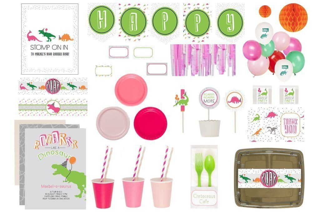 Dinoroar Party Supplies Pink Luxe Box Product Overview