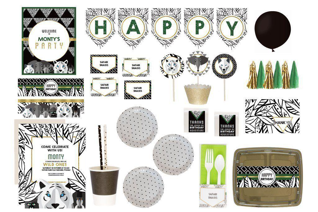 Jungle Safari Party Supplies Animal Green Luxe Box Overview