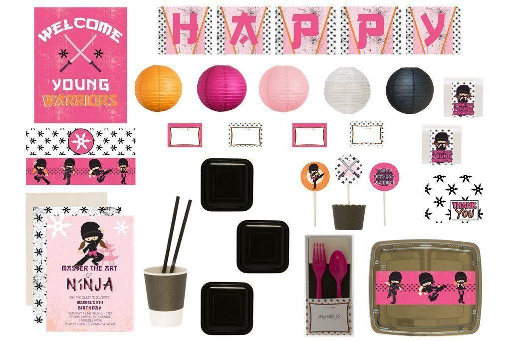 Ninja Party Supplies Pink Bee Box Overview