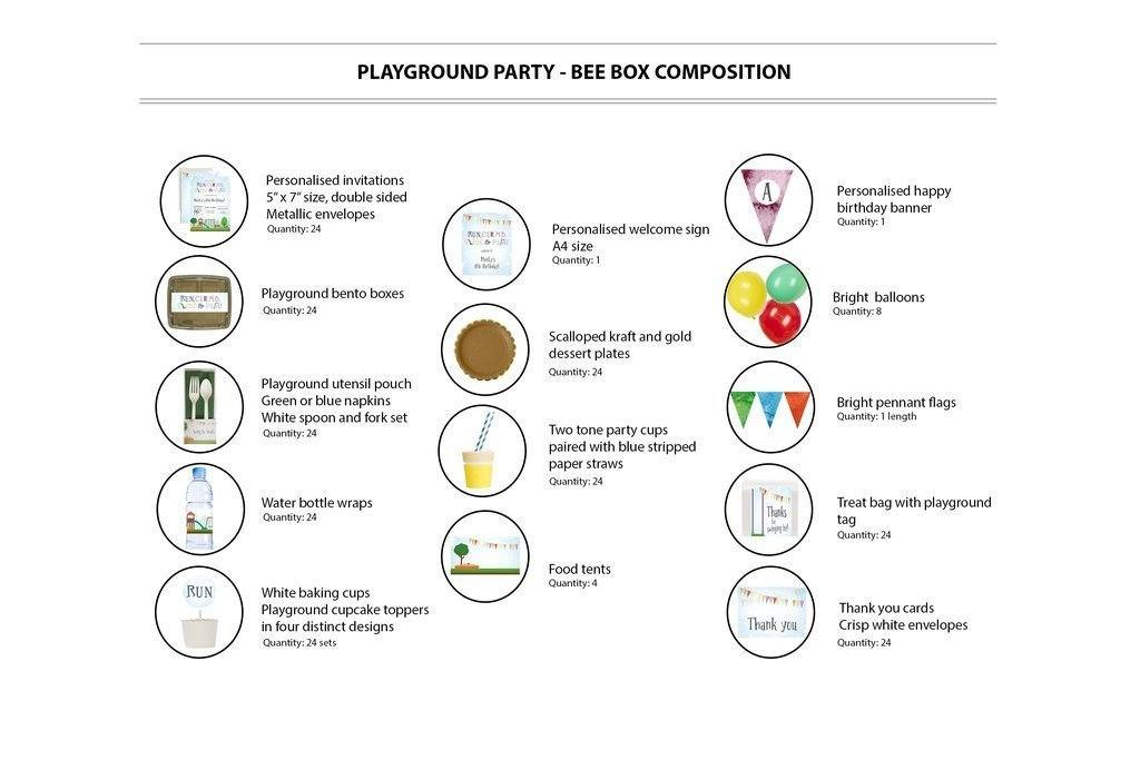 Playground Party Supplies Bee Box Contents 24