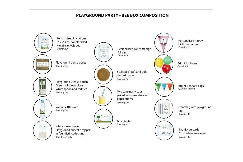 Playground Party Supplies Bee Box Contents 30