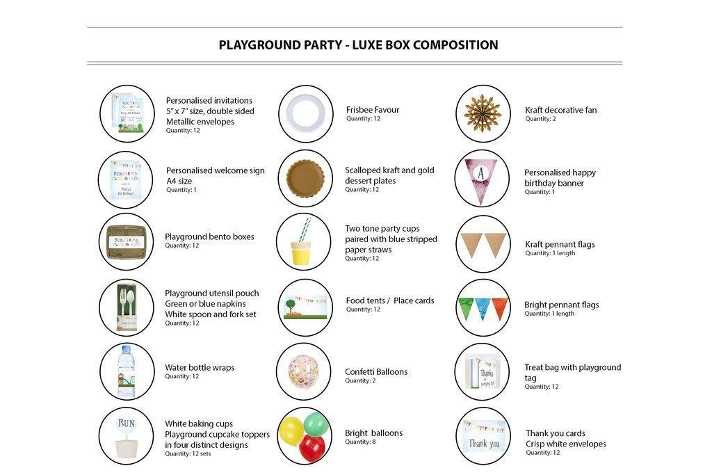 Playground Party Supplies Luxe Box Contents 12