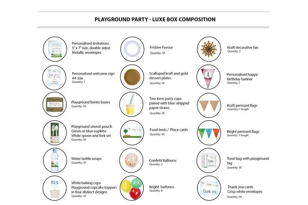 Playground Party Supplies Luxe Box Contents 30