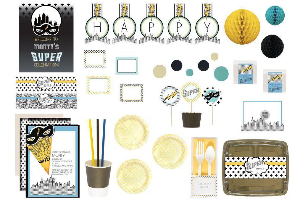 bee box paties superhero blue bee box flatlay