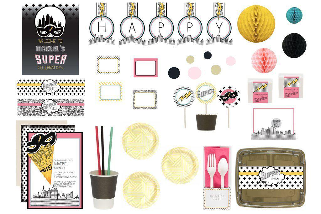 bee box paties superhero pink bee box flatlay