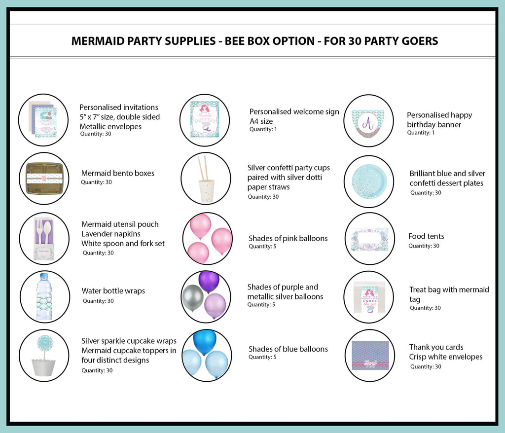 Mermaid Party Supplies Ideas Bee Box Option 30 Party Goers